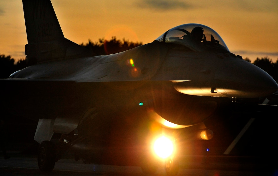 A U.S. Air Force F-16 Fighting Falcon taxis the runway at Misawa Air Base, Japan, Sept. 9, 2013. Pilots from the 35th Fighter Wing flew more than 200 sorties during Iron Spear 13-2, an exercise that pitted Misawa's Wild Weasels against the Japan Ground Self-Defense Force in simulated combat. (U.S. Air Force photo by Staff Sgt. Nathan Lipscomb)