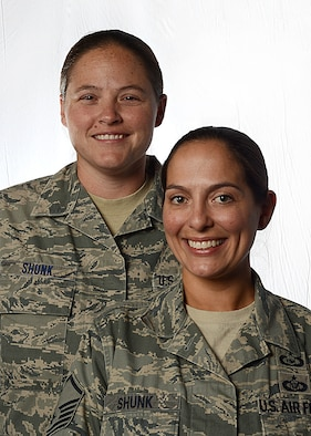 Tech. Sgt. Stacy Shunk, and Master Sgt. Angela Shunk, both assigned to Aviano Air Base, Italy, are the first Air Force same-sex couple to be accepted for an assignment under the join spouse program.