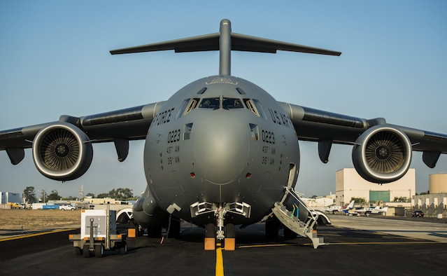 The final U.S. Air Force C-17 Globemaster III, P-223, is rolled off the Boeing assembly line and placed on the flight line during a ceremony celebrating 20 years of delivering C-17s to the U.S. Air Force Sept. 12, 2013, at Long Beach, Calif.