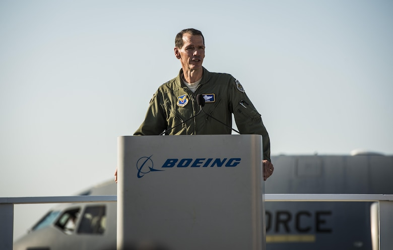 Lt. Gen. Stanley Clarke, Air National Guard director, speaks to Boeing employees at the final U.S. Air Force C-17 Globemaster III, P-223, delivery ceremony Sept. 12, 2013, at Long Beach, Calif.