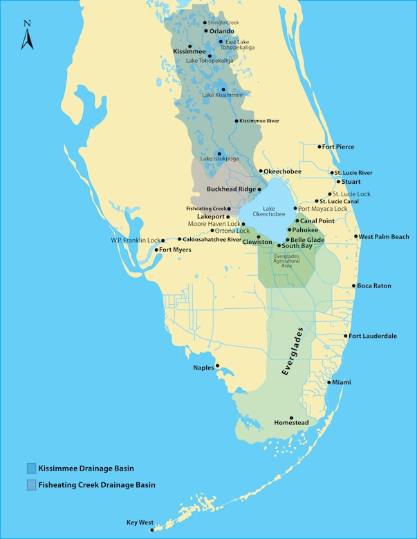 This map of south Florida shows the location of the Kissimmee and Fisheating Creek Drainage Basins, the Okeechobee Waterway and the Everglades in relation to Lake Okeechobee.