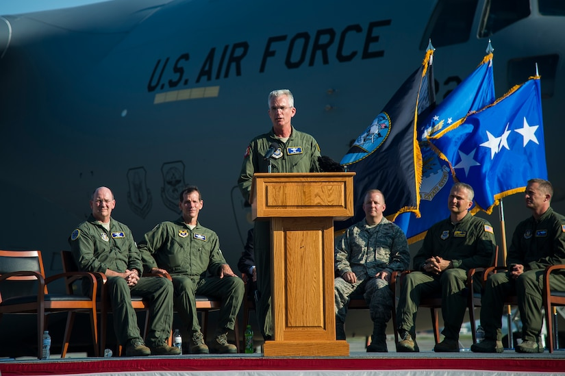General Paul Selva, Air Mobility Command commander, gives a speech during a ceremony held to commemorate the delivery of the final U.S. Air Force C-17 Globemaster III, P-223, Sept. 12, 2013, on the flight line at Joint Base Charleston - Air Base, S.C. This historical event comes more than 20 years after the 437th Airlift Wing and the 315th Airlift Wing took delivery of the very first C-17 to enter the Air Force inventory June 14, 1993 and marks the successful completion of C-17 production for the U.S. Air Force. (U.S. Air Force photo/ Senior Airman George Goslin)