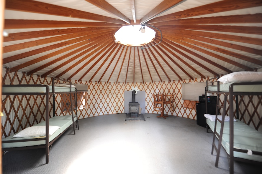 Yurts are permanent tent structures that can accommodate up to four guests. Each yurt includes ? & Photos