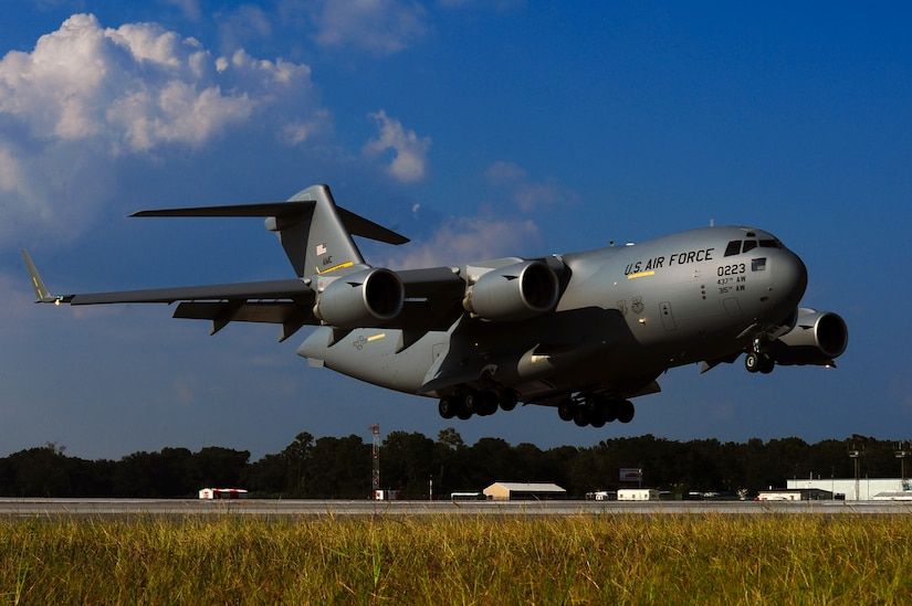 Joint Base Charleston received the last U.S. Air Force C-17 Globemaster III, P-223, during a delivery ceremony Sept. 12, 2013, on the flight line at Joint Base Charleston - Air Base, S.C. This historical event comes more than 20 years after the 437th Airlift Wing and the 315th Airlift Wing took delivery of the very first C-17 to enter the Air Force inventory June 14, 1993 and marks the successful completion of C-17 production for the U.S. Air Force. (U.S. Air Force photo/ Airman 1st Class Chacarra Neal)