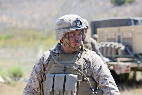 Petty Officer 1st Class Michael Bundeson, a corpsman with Combat Logistics Battalion 5, 1st Marine Logistics Group, participates in a combat operations center exercise aboard Camp Pendleton, Calif., Sept. 5, 2013. Bundeson has served as a corpsman for 13 years and has been on five combat deployments, serving in Ramadi, Fallujah, Al-Asad and Al-Taqqadum during the height of the Iraq War.