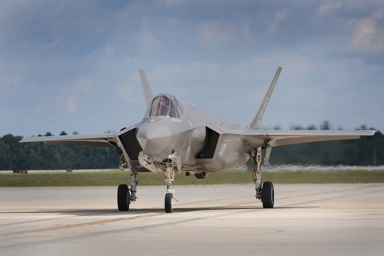 An Air Force  F-35 Lightning II taxies for take off during flight operations June 20, 2013, at Eglin Air Force Base, Fla. The F-35 will be used by the Air Force, Navy, Marine Corps and other partner nations.