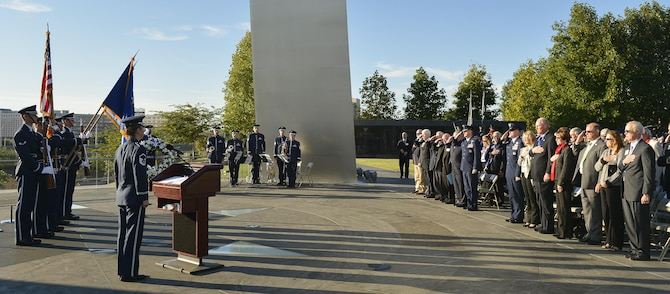 The Air Force's 12 Outstanding Airmen of the Year, Air Force senior leaders and Air Force Association members gathered for an early morning memorial service and wreath laying ceremony Sept 15, 2013, at the Air Force Memorial Arlington, Va. Laying the wreath were Air Force Assistant Vice Chief of Staff Lt. Gen. Stephen Hoog,  Air Force Association Chairman of the Board Mr. George Muellner and Chief Master Sergeant of the Air Force James Cody. (U.S. Air Force photo/Jim Varhegyi)