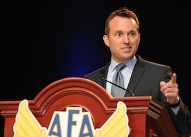 Acting Air Force Secretary Eric Fanning speaks on the State of the Force at Air Force Association's 2013 Air & Space Conference and Technology Exposition Sept. 16, 2013, in Washington, D.C. Fanning recalled past triumphs that have made the Air Force the dominant force it is and emphasized what is needed for the Air Force to remain dominant. (U.S. Air Force photo/Airman 1st Class Aaron Stout)