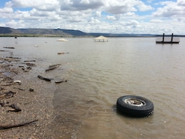 COCHITI LAKE, N.M., -- Shelters at the swim beach, Sept. 16, 2013. The lake rose approximately 15 feet during the heavy rains in mid-September 2013, damaging the shelters and the swim beach area.