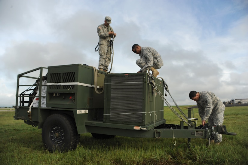 U.S. Army Staff Sgt. Tim Byrnes (left), a Joint Task Force-Bravo Army Forces Air Drop supervisor, U.S. Army Specialist Joshua Martinez (center), a JTF-Bravo ARFOR parachute rigger, and U.S. Army Staff Sgt. Domingo Longo (right), a JTF-Bravo ARFOR ammunition inspector inspect a 4,823 pound environmental control unit before it's sling-loaded onto a 1-228 Aviation Battalion Chinook-47 to assist JTF-Bravo's Medical Element's mobile surgical team Sept 16-21 in the Northern region of Honduras. The United States military personnel assigned to Joint Task Force-Bravo have been conducting medical readiness training exercises since Oct. 1993. Since that time, they have conducted more than 295 missions and treated more than 341,400 medical patients, 67,400 dental patients and 14,300 surgical patients throughout Central America.