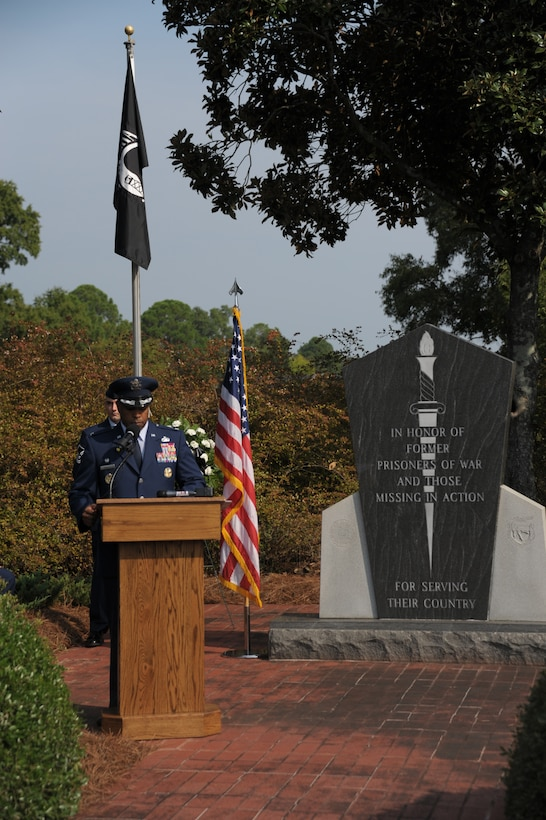 Col. Trent Edwards, 42nd Air Base Wing commander, speaks at the POW/MIA ceremony at Maxwell Air Force Base, Sept. 16. A wreath was placed in honor of all POW/MIAs in Maxwell's Air Park. (U.S. Air Force photo by Master Sgt. Michael Voss)
