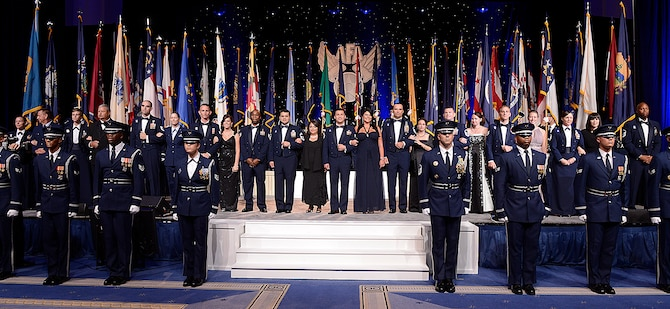 The 2013 12 Outstanding Airmen of the Year attended a reception and awards dinner hosted by the Air Force Association during the 2013 Air & Space Conference and Technology Exposition Sept. 16, 2013, in Washington D.C. The OAY award recognizes 12 outstanding enlisted personnel for superior leadership, job performance, community involvement, and personal achievements. The program was initiated at the Air Force Association's 10th annual national Conference, held in New Orleans in 1956. (U.S. Air Force photo/Jim Varhegyi)