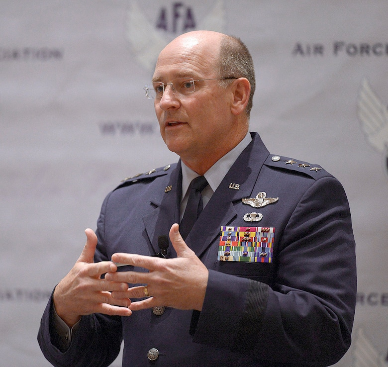 """Lt. Gen. James """"JJ"""" Jackson speaks during the Air Force Association's 2013  Air & Space Conference and Technology Exposition Sept. 16, 2013, in Washington, D.C. Jackson is chief of the Air Force Reserve and the Air Force Reserve Command commander.  (U.S. Air Force photo/Andy Morataya)"""