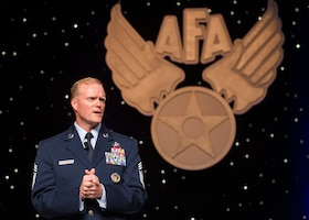 Chief Master Sgt. of the Air Force James Cody speaks at the Outstanding Airmen of the Year dinner during the Air Force Association's annual Air & Space Conference and Technology Exposition Sept. 16, 2013, in Washington, D.C. The award recognizes the top 12 outstanding enlisted Airmen for superior leadership, job performance, community involvement and personal achievements.(U.S. Air Force photo/Jim Varhegyi)