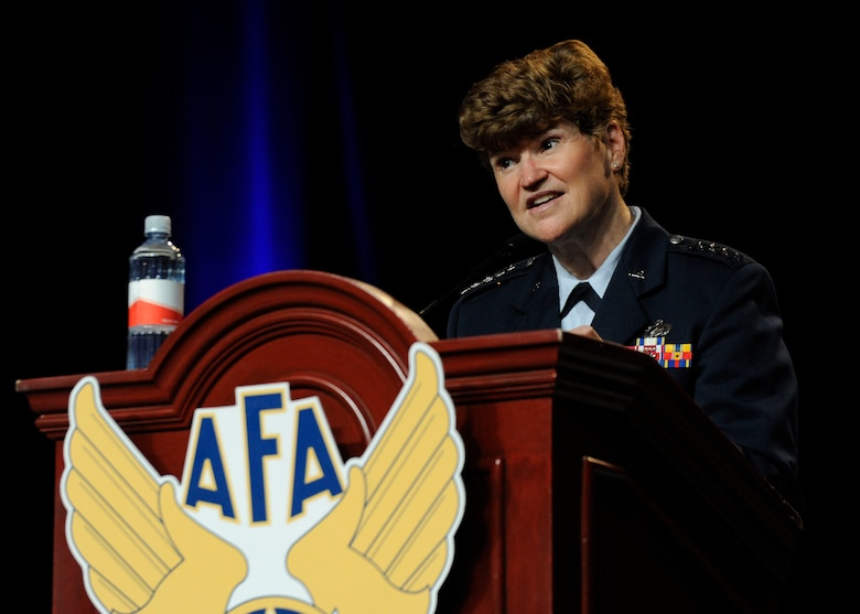 Gen. Janet C. Wolfenbarger speaks about sustaining the force at the 2013 Air Force Association's 2013 Air & Space Conference and Technology Exposition Sept. 16, 2013, in Washington, D.C. The 2013 Air & Space Conference is a professional development conference sponsored and conducted by AFA in support of the total Air Force. Wolfenbarger is the commander of Air Force Materiel Command at Wright-Patterson Air Force Base, Ohio. (U.S Air Force photo/Airman 1st Class Nesha Humes)