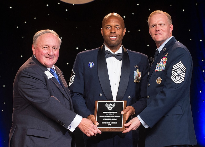 Master Sgt. Andre Davis was recognized as one of the 12 Outstanding Airmen of the Year at a reception and awards dinner hosted by the Air Force Association during the AFA's annual Air & Space Conference and Technology Exposition Sept. 16, 2013, in Washington, D.C. The OAY award recognizes the top 12 outstanding enlisted Airmen for superior leadership, job performance, community involvement and personal achievements. Davis is a unit education training manager with the 203rd Red Horse Squadron at Camp Pendleton, Va. (U.S. Air Force photo/Jim Varhegyi)