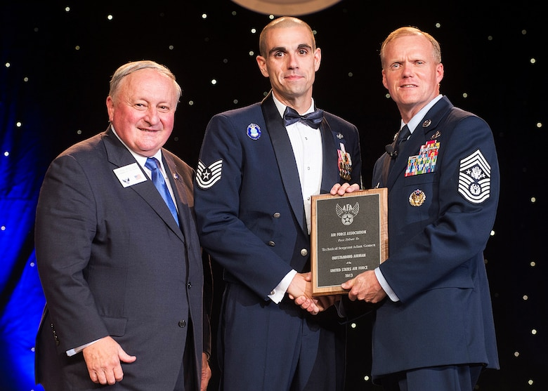 Tech. Sgt. Adam Gomez was recognized as one of the 12 Outstanding Airmen of the Year at a reception and awards dinner hosted by the Air Force Association during the AFA's annual Air & Space Conference and Technology Exposition Sept. 16, 2013, in Washington, D.C. The OAY award recognizes the top 12 outstanding enlisted Airmen for superior leadership, job performance, community involvement and personal achievements. Gomez is a cyber transport craftsman with the 3rd Combat Camera Squadron at Joint Base San Antonio-Lackland Air Force, Texas. (U.S. Air Force photo/Jim Varhegyi)