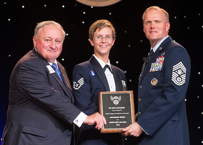 Staff Sgt. Lauren Everett was recognized as one of the 12 Outstanding Airmen of the Year at a reception and awards dinner hosted by the Air Force Association during the AFA's annual Air & Space Conference and Technology Exposition Sept. 16, 2013, in Washington, D.C. The OAY award recognizes the top 12 outstanding enlisted Airmen for superior leadership, job performance, community involvement and personal achievements. Everett is an aerospace medical service journeyman with the 48th Inpatient Squadron at RAF Lakenheath, England. (U.S. Air Force photo/Jim Varhegyi)