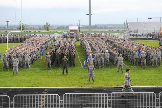Members of the Utah Air National Guard stand in formation during the annual Utah Governors Day at Westlake Highschool in Saratoga Springs Utah on September 14th 2013.  Governors day is a Utah tradition when the Governor of Utah performs a ceremonial review of Utah National Guard members.(U.S. Air National Guard photo by TSgt. Jeremy Giacoletto-Stegall)(RELEASED)