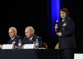 "Maj. Gen. Sandra Finan closed the ""Nuclear Enterprise Panel"" Sept. 17, 2013, at the Air Force Association's 2013 Air & Space Conference and Technology Exposition in Washington, D.C. Finan said the nuclear weapons center is responsible for delivering the nuclear capabilities the warfighters use. Finan is the Air Force Nuclear Weapons Center commander. (U.S Air Force Photo/Airman 1st Class Nesha Humes)"