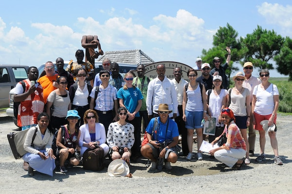 A delegation of 22 environmentalists, government officials, scholars and environmental journalists from 20 different countries visited Poplar Island to better understand the methods of restoration and preservation used by the U.S. Army Corps of Engineers.