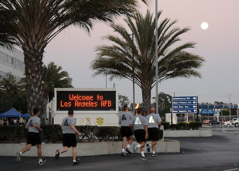The runners arrive on base for the overnight run, Sept. 18.  (Photo by Joe Juarez)