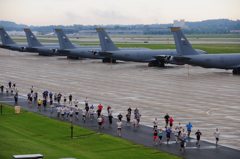 """More than 500 Pennsylvania Air National Guardsmen of the 171st Air Refueling Wing in Coraopolis PA. participated in a 5k fun """"run/walk for respect"""" as part of the wing's Sexual Assault Prevention and Response down-day held at the base on Sunday, August 4th 2013. (U.S. Air National Guard Photo by Master Sgt. Stacey Barkey/Released)"""