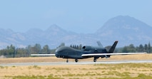 A RQ-4 Global Hawk prepares to take flight Sept. 17, 2013, at Beale Air Force Base, Calif. The Northrop Grumman Corp. announced the aircraft achieved 100,000 flight hours Sept. 5. (U.S. Air Force photo by Airman 1st Class Bobby Cummings/Released)