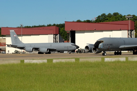 BIRMINGHAM, Ala. -- Two KC-135R aircraft taxi during five-ship training mission here on Saturday. Four of the KC-135s refueled A-10 aircraft. The fifth KC-135R returned to base after the formation training was complete. A KC-135R from the 171st Air Refueling Wing in Pittsburgh, Pa. was flown in the formation and was used during the refueling mission. (U.S. Air National Guard photo by Maj. Pam Carroll/Released)
