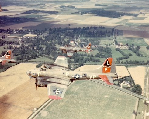 """B-17G Flying Fortress, nickname """"Dreambaby,"""" assigned to the 533rd Bomb Squadron, 381st Bomb Group of the Eighth Air Force, in 1944 returns from a mission to Royal Air Force Station Ridgewell, England. (U.S. Air Force courtesy photo)"""
