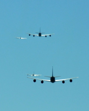 BIRMINGHAM, Ala. -- Four KC-135R aircraft fly in five-ship formation flight here on Saturday. The purpose of this mission was training. Four of the KC-135s refueled A-10 aircraft. The fifth KC-135R returned to base after the formation training was complete. A KC-135R from the 171st Air Refueling Wing in Pittsburgh, Pa. was flown in the formation and was used during the refueling mission. (U.S. Air National Guard photo by Tech. Sgt. Jon Roebuck/Released)