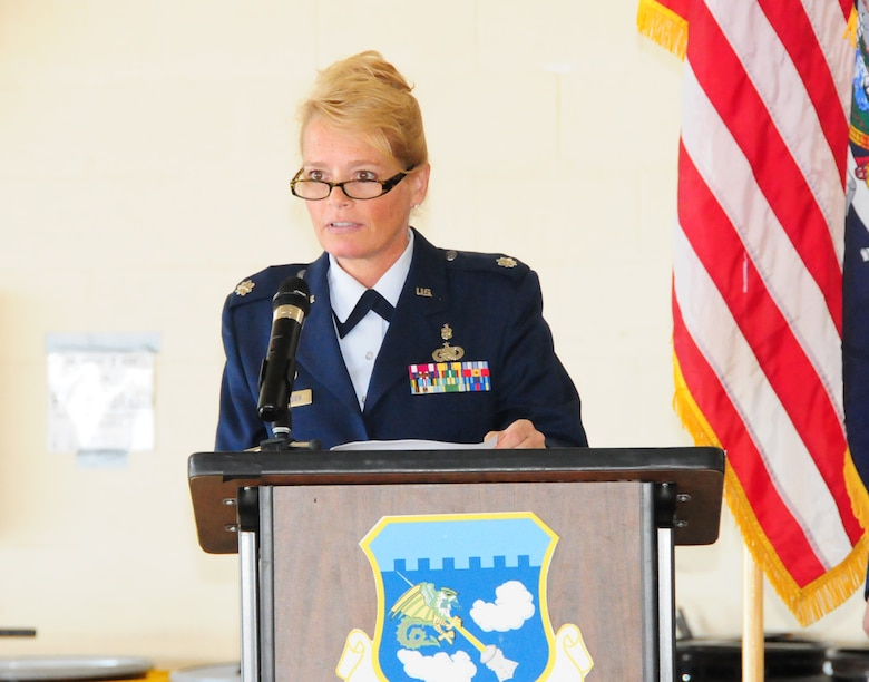 Lt.Col.  Emily Desrosier addresses her  Medical Group at the Niagara Falls Reserve Station on Sept, 14, 2013 (Air National Guard Photo/Senior Master Sgt. Ray Lloyd)
