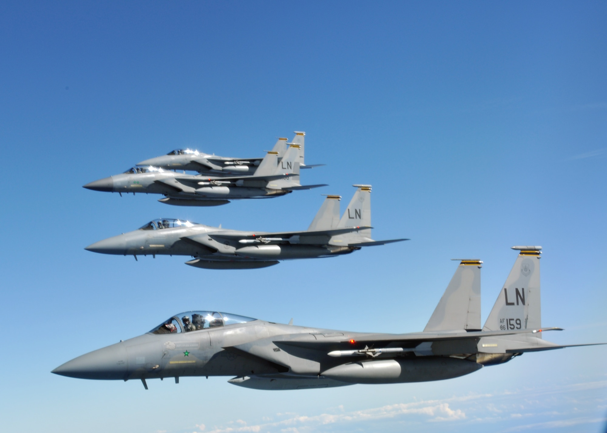 Four U.S. Air Force F-15C Eagles fly in formation after refueling Sept. 12, 2013, on their way to the Arctic Challenge exercise in Norway. The F-15C, in coordination with fighters from other nations, provided the air-to-air attack element in many of the scenarios during the exercise.