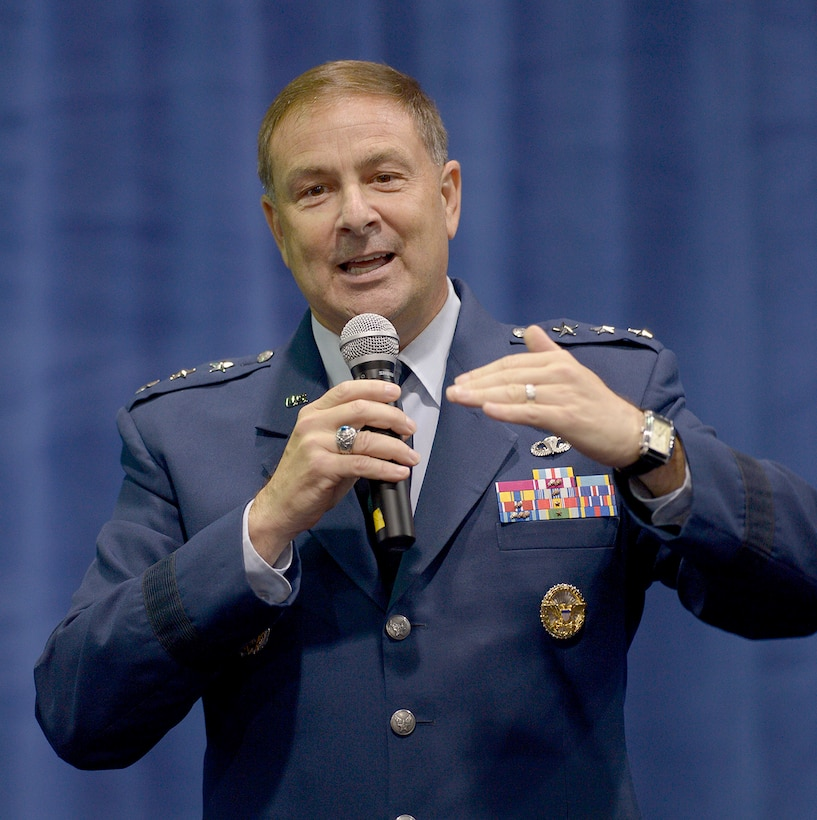 Lt. Gen. Christopher C. Bogdan leads a discussion about the requirements of the F-35 Joint Strike Fighter program at the Air Force Association's 2013 Air & Space Technology Exposition Sept. 17, 2013, in Washington, D.C. Bogdan is the program executive officer for the F-35 Lightning II Joint Program Office in Arlington, Va.  (U.S. Air Force photo/Andy Morataya)