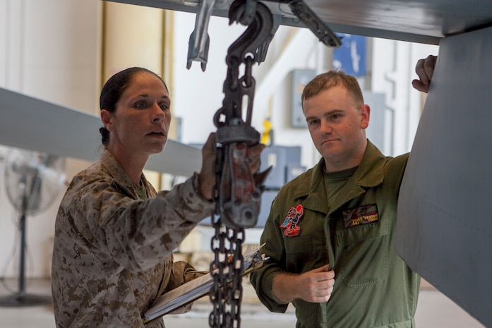 """Staff Sgt. Christine Mendenhall, 2nd Marine Aircraft Wing refrigeration electrician mechanic inspector from Newark S.C., inspects chain lifts on the wing of an F/A-18 Hornet with Sgt. Tony Yates, Marine All-Weather Fighter Attack Squadron 224 hydraulic, pneumatic, structures mechanic from Covington Ky., during an Aviation Logistics Management Assist Team (ALMAT) evaluation aboard the Air Station Sept., 10. The squadron achieved an """"on track"""" rating from the team of experts who examined and graded more than 40 programs within VMFA(AW) 224 and trained Marines on areas needing improvement."""