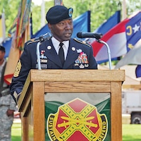 Garrison Command Sgt. Maj. Terry Gardner speaks during a change of responsibility ceremony July 18 at Ware Parade Field. Gardner promised to give 110 percent of his effort toward making Fort Riley the best garrison in the Army.  Photo by: Julie Fiedler, POST.