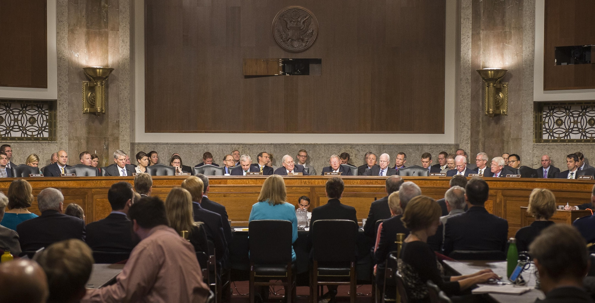 Ms. Deborah Lee James (foreground center) listens to a question from Ranking Member of the Senate Armed Services Committee James Inhofe Sept. 19, 2013, in Washington, D.C. The committee convened to consider her nomination by President Barack Obama to be the 23rd sSecretary of the Air Force. If confirmed, James would be the second female secretary in the Air Force's history. The first was Shelia Widnall, who served as secretary from 1993 to 1997.  Besides James four other nominees were being considered for jobs throughout the Department of Defense.