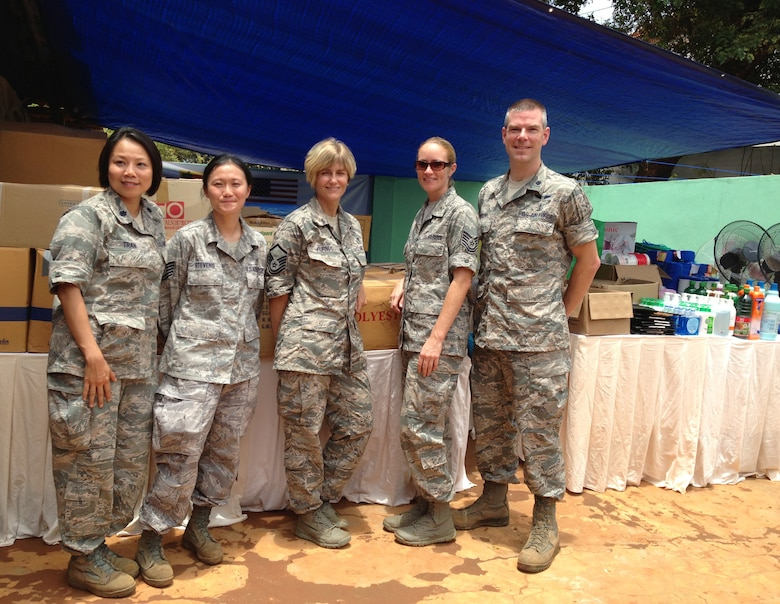 Members of the 142nd Fighter Wing Medical Group pause for a group photo during their work as part of the Pacific Angel Mission in the Jaffna Peninsula of Sri Lanka, July 28- Aug.18. (left to right) Lt. Col. Thuy Tran, Staff Sgt. Chau Stevens, Master Sgt. Dania Furnia, Tech. Sgt. Misty Ray and Lt. Col. Jonathon Vinson. (Photo courtesy of Tech. Sgt. Misty Ray, 142nd Fighter Wing Medical Group).