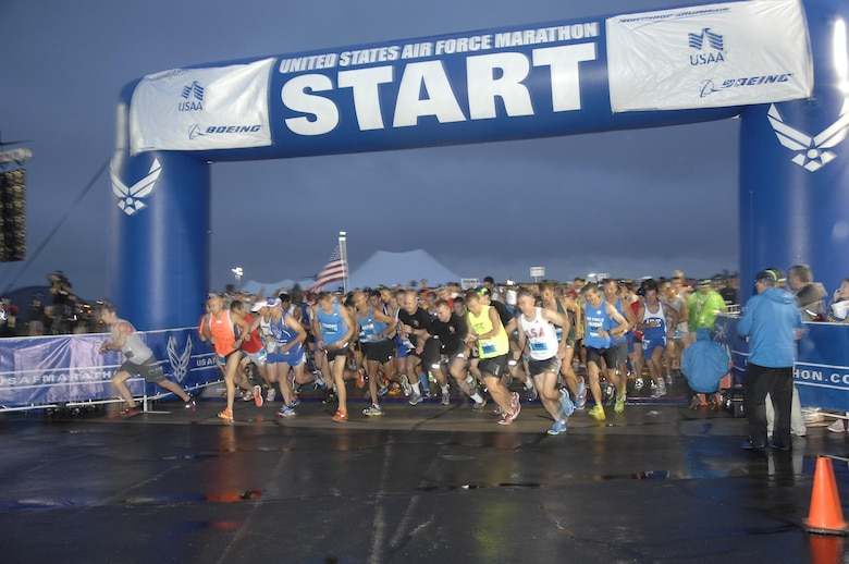 Runners break at the start line of the 17th Annual Air Force Marathon Sept. 21, at Wright-Patterson Air Force Base, Ohio. More than 9,000 runners participated in the evert. (U.S.Air Force photo/Michelle Gigante)