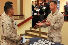 Maj. David L. Baril speaks to Marines about the Marine for Life program during the Hiring Our Heroes job fair held at the Pacific Views Event Center here Sept. 19. Marine for Life is a Marine Corps organization that provides nationwide assistance to Marines returning to civilian life. Baril is the Marine Corps Installations West liaison for Marine for Life.