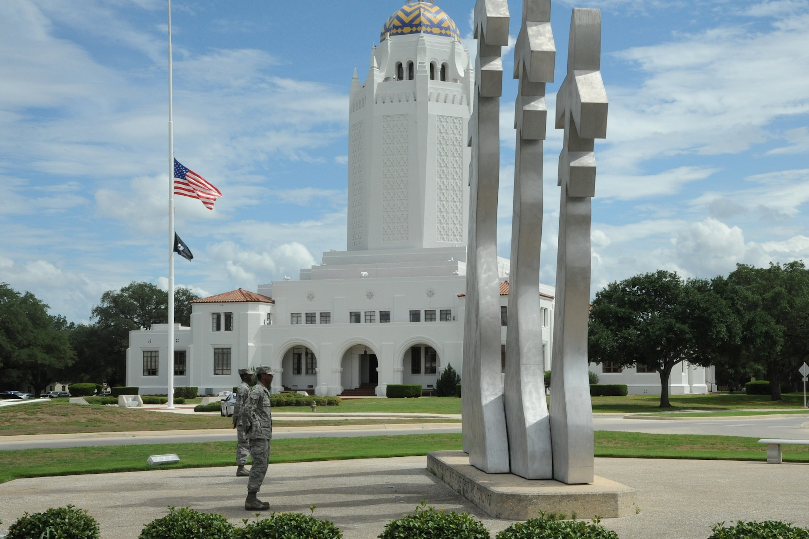 Tech. Sgt. Gilchrist and Staff Sgt. Gunter stand watch over the Missing Man Monument at JBSA-Randolph during the POW/MIA ceremony Sept. 18. (U.S. Air Force photo by Don Lindsey)