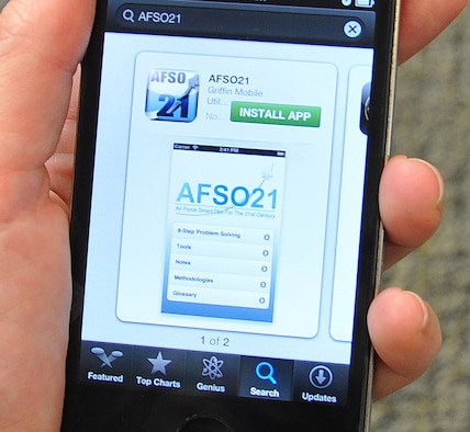 Airmen can now download an Air Force mobile application designed to help them better get at the root of workplace problems. The AFSO21 application, available for free download from the two most popular mobile marketplaces, provides a breakdown of problem solving steps with common tools and a rubric for each step. (U.S. Air Force photo by Tech. Sgt. Beth Anschutz)