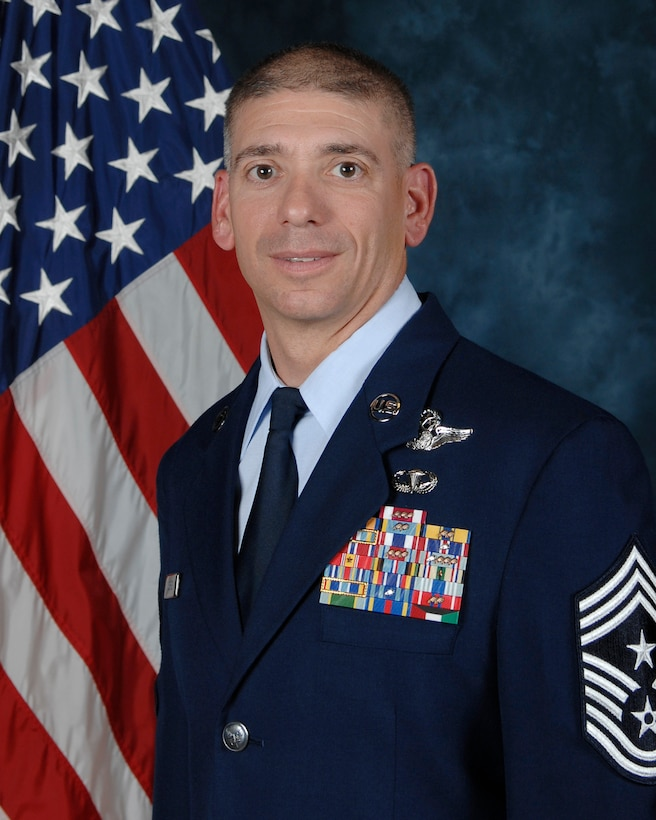 Chief Master Sgt. Shawn Hughes, 437th Airlift Wing command chief
