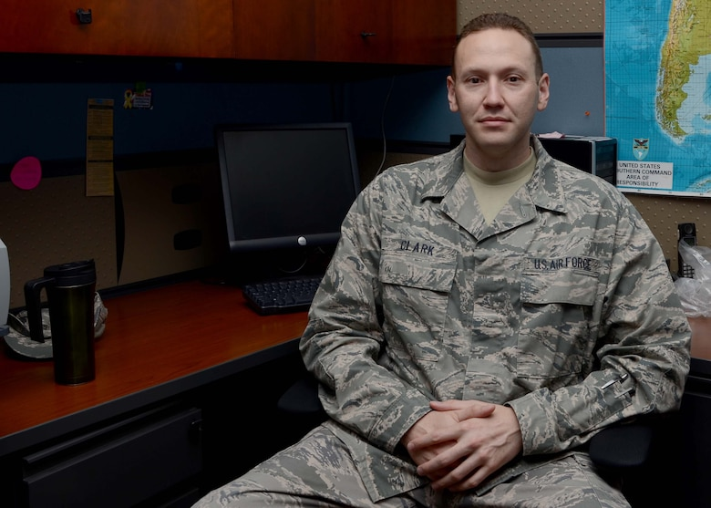 Master Sgt. Nathan Clark, Operations Superintendent assigned to the 612th Air Operations Center, talks about his role in the Sexual Assault Prevention and Response program during an interview on Davis-Monthan AFB, Ariz., Sept. 18, 2013. (U.S. Air Force photo by Staff Sgt. Heather R. Redman/Released)