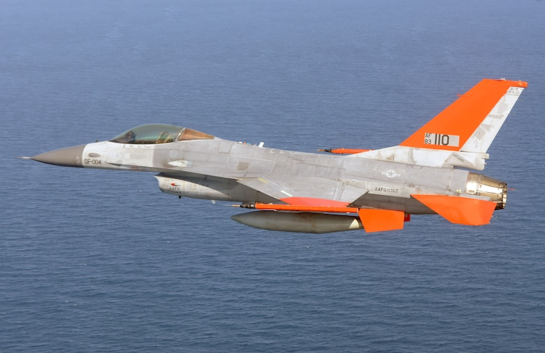 A QF-16 Full Scale Aerial Target from the 82nd Aerial Targets Squadron flies over the Gulf of Mexico during its first unmanned flight at Tyndall Air Force Base, Fla., Sept. 19. The 82nd ATRS operates the Department of Defense's only full-scale aerial target program. The QF-16 will provide fourth generation fighter representation of real world threats for testing and training, say operators. (U.S. Air Force photo/Master Sgt. J. Scott Wilcox)