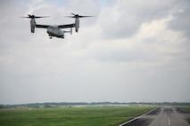 An MV-22B Osprey prepares to land after conducting a site-survey mission over Pampanga, Republic of the Philippines, Sept. 17 as part of Amphibious Landing Exercise 2014. The mission provided the Marines with training opportunities not available in some parts of the Asia-Pacific region. The Osprey is with Marine Medium Tiltrotor Squadron 166, part of the 13th Marine Expeditionary Unit's aviation combat element.
