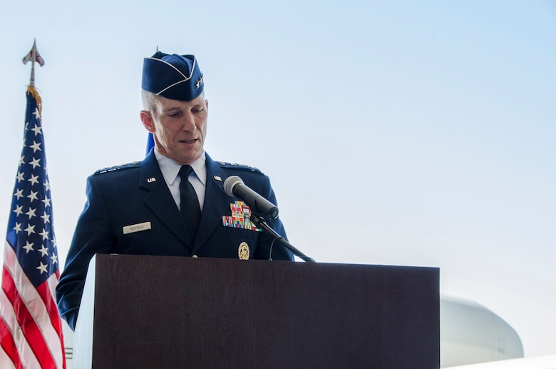 Gen. Mike Hostage, Air Combat Command commander, officiates the 12th Air Force (Air Forces Southern) change of command ceremony on Davis-Monthan AFB, Ariz., Sept. 24, 2013.  Lt. Gen. Robin Rand relinquished command to Lt. Gen. Tod Wolters.  (U.S. Air Force photo by Staff Sgt. Heather R. Redman/Released)
