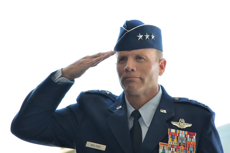 Lt. Gen. Tod Wolters, 12th Air Force (Air Forces Southern) commander, renders a salute during the 12th Air Force (Air Forces Southern) change of command at Davis-Monthan Air Force Base, Ariz., Sept. 24, 2013. During the ceremony Wolters assumed command of 12th Air Force (Air Forces Southern) from Lt. Gen. Robin Rand. (U.S. Air Force photo by Staff Sgt. Adam Grant/Released)