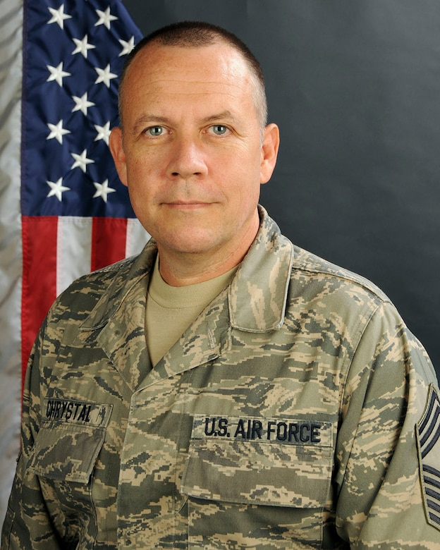 U.S. Air Force Chief Master Sgt. Shawn Chrystal, 169th Force Support Squadron Chief at McEntire Joint National Guard Base of the South Carolina Air National Guard, poses for a portrait, Sept. 12, 2013.   (U.S. Air National Guard photo by Senior Master Sgt. Edward Snyder/Released)