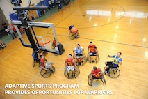 Wounded warriors compete against each other in an Air Force vs. Marine Corps wheelchair basketball game at the Air Force Wounded Warrior Program Adaptive Sports Camp Sept. 19 at the Joint Base San Antonio-Randolph Rambler Fitness Center. (U.S. Air Force photo by Melissa Peterson)